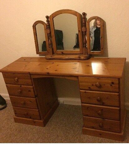 Pine dressing table & mirror