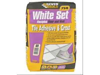 Everbuild 714 white set tile adhesive and grout 20Kg unopened