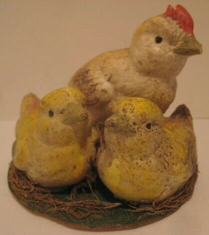 Old 1920s Chalkware Easter Decoration Family of Chicken & Chicks on Nest Country