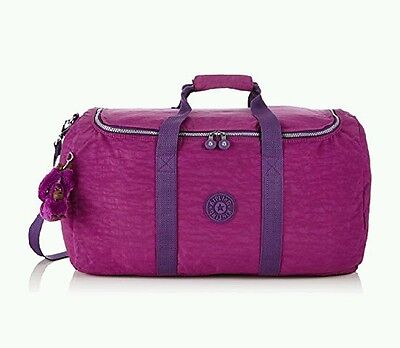 kipling  travel duffle gym bag Azura purple dahlia new 55cm 56litres