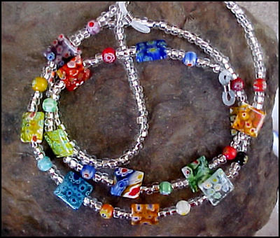 Millefiori Lampwork Flat SQUARES Multi Color Eyeglass Chain Leash
