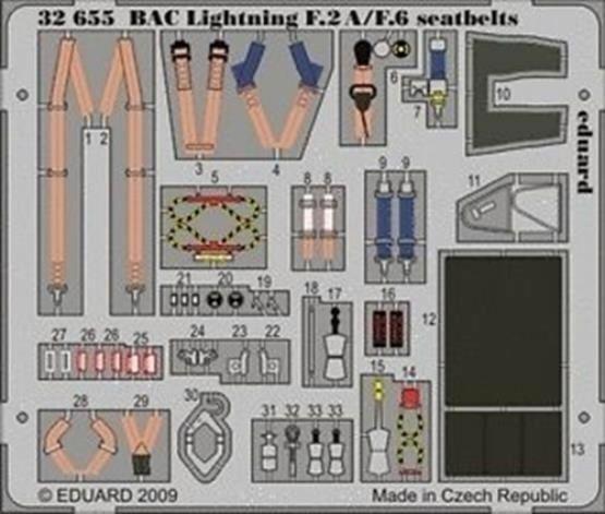eduard 32655 dX 1/32 BAC Lightning F2A/F6 Seatbelts for Trumpeter