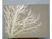 Large beige and gold wall canvas