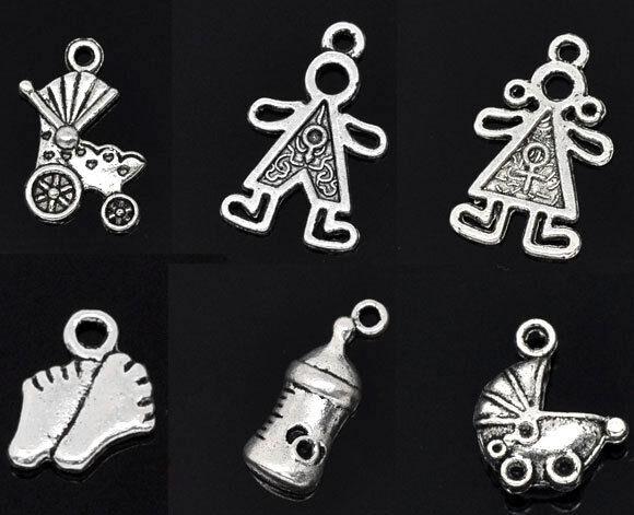 HELLO 30 Mixed Silver  Baby Charms Pendants