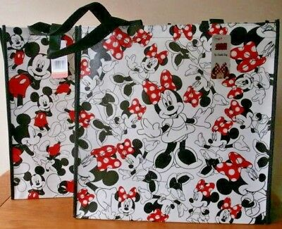 DISNEY Shopper Bag MICKEY & MINNIE MOUSE TOTE Black & White WIPE CLEAN 2 -