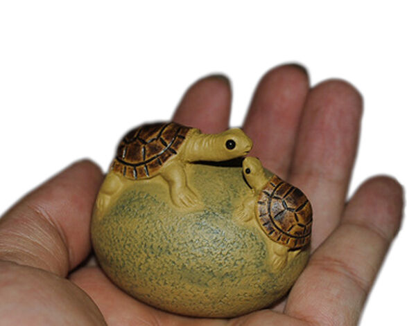 Chinese Yixing pure clay Mini zisha tea pet Tortoise Mother and baby on stone
