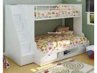 Trio sleeper bunkbed with memory foam mattress