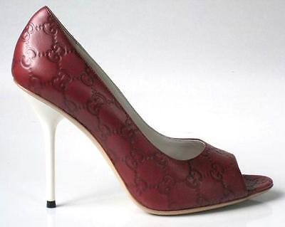 new $650 GUCCI brick GG leather logo open toe heels shoes 39.5 US 9.5 - sexy