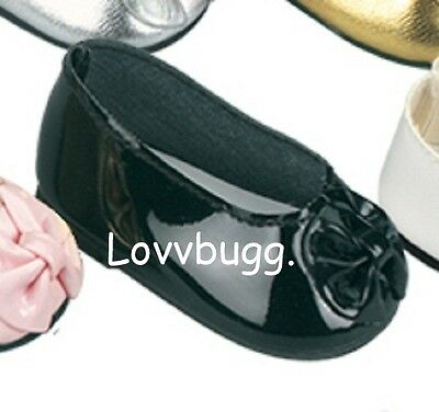 "Lovvbugg Black Patent Ballet Flats Bow for 18"" American Girl or Bitty Baby Doll Shoes"