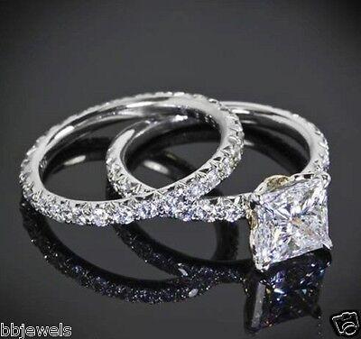 1 50 Ct Diamond Solitaire Bridal Set Engagement Ring 10K White Gold Free Sizing