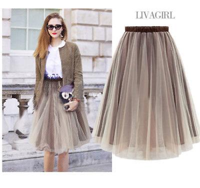 Fashion Women Teen  Delicate Brown Knee Length Adult Tulle Tutu Skirt Dress  ZG8