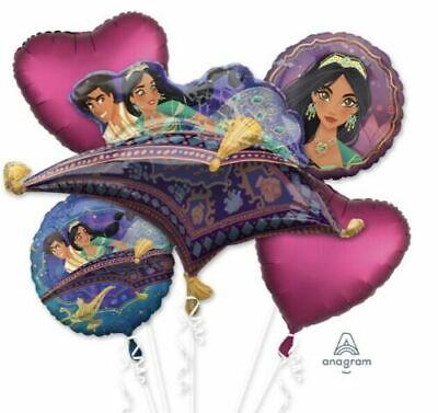 Disney Aladdin Balloon Bouquet ~ Girls Birthday Party Decoration Jasmine ~ 5pc - Aladdin Birthday Party