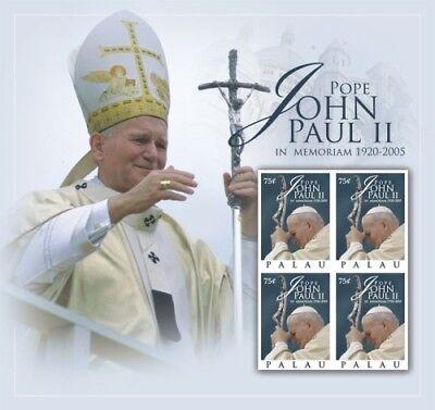 Palau- Pope John ll 5th Memorial Anniversary Stamp Sheet of 4 MNH