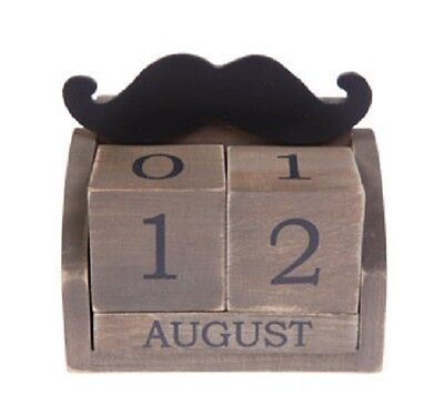 NEW - DISTRESSED WOODEN MOUSTACHE PERPETUAL BLOCK CALENDAR SASS & BELLE