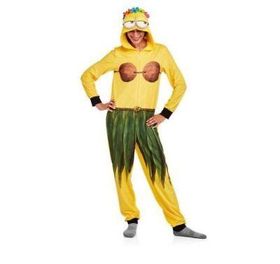 Minion pajamas Womens Medium Hoodie one piece jumpsuit new 8/10 hula hawaiian (Womens Minion Pajamas)