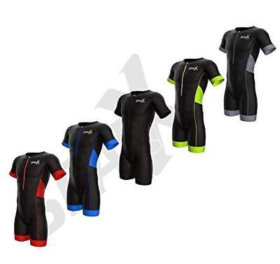 Sparx Men Elite Aero Short Sleeve Triathlon Suit Skinsuit Team Tri Suit 1711 (Sleeve Skin Suit)