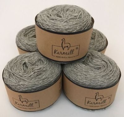 Alpaca Wool Skeins 100% Baby Alpaca Yarn Lot of 5 Light Gray Color 4010