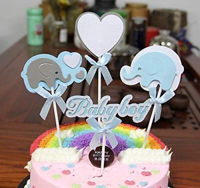 PureArte Cute Baby Shower Cake Topper For Baby Boy Party Decor Blue Elephant