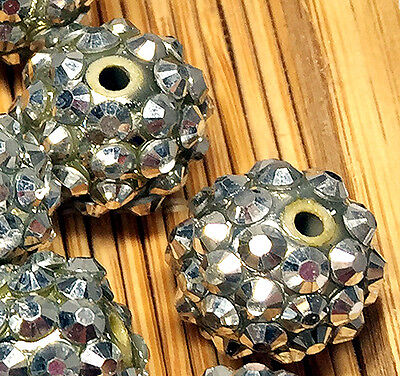 15mm Silver Resin Twinkling Disco Ball AB Crystal Spacer Beads 25pcs