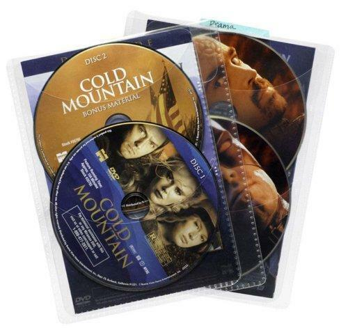 Atlantic 25 Pack Movie Sleeves - Clear Sleeve hold two discs each, Protects Disc