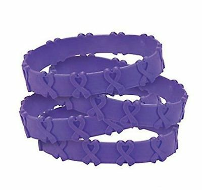 24 Cancer Awareness Purple Ribbon POP OUT Bracelets Pancreatic Cancer, Relay  - Cancer Awareness Bracelets