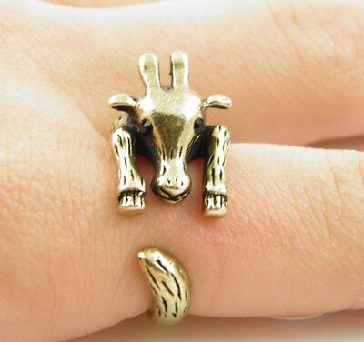 Animal Gold Ring (Animal Wrap Ring Gold Giraffe Adjustable Size 6 Ring )