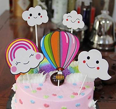 Party Favors Decoration Blue Pink White Hot Air Balloon and Clouds