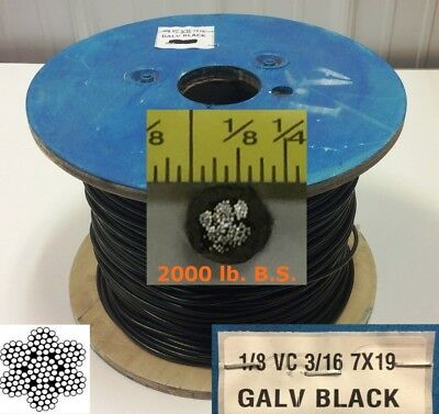 Vinyl Coated Steel Aircraft Cable Wire Rope 50 18 Vc 316 7x19 Black