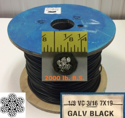 "Vinyl Coated Steel Aircraft Cable Wire Rope 50 ft 1/8"" VC 3/16"" 7x19 Black"
