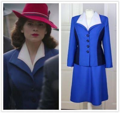 er Blue Suit Cosplay Costume dress custom made (Agent Carter Kostüm)