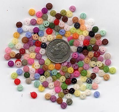 BASIC MIX, NOW MORE--500 Tiny Doll Buttons, 4mm, 2-hole