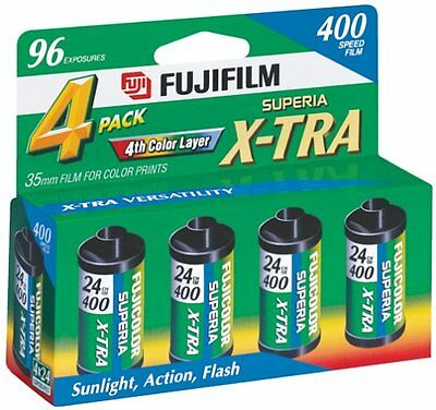 Fuji 4 Pack Superia X-TRA CH ISO 400 ASA 35mm Superia Film/ 24 Exp