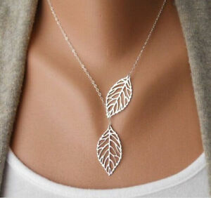 Double-Gold-Silver-Leaves-pendant-Clavicle-Necklace Kitchener / Waterloo Kitchener Area image 1