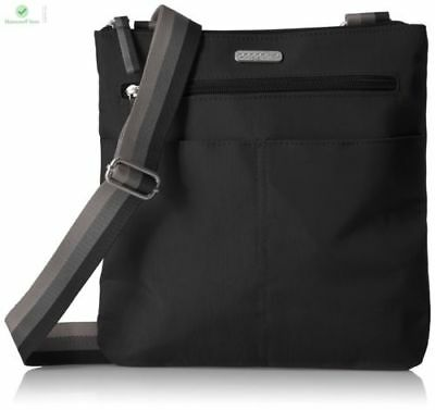 Baggallini FINE LINE SLIM CROSSBODY Bag Shoulder BLACK Tri-Colored Strap $78 New