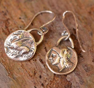 Artisan Sterling Silver Pegasus and Greek Goddess Earrings