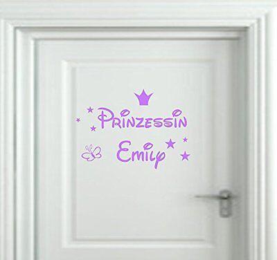 Wandtattoo Kinderzimmer Türschild Prinzessin  Wunschnamen Krone Sterne Namen ()