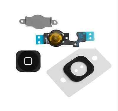 Home Menu Button Key Cap + Flex Cable + Bracket Holder for Apple iPhone 5C BLACK