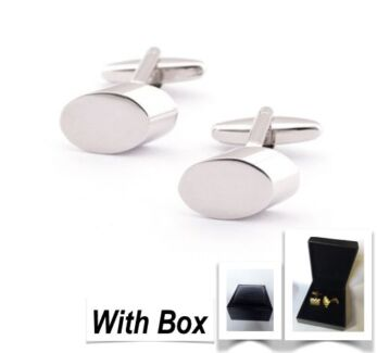 NEW High Quality Handmade Mens Oval Steel Cufflinks With Box Wembley Cambridge Area Preview