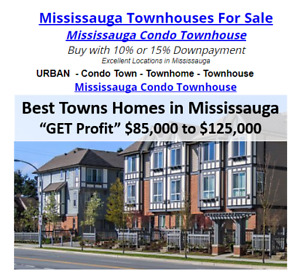 Mississauga Condo Townhouse Buy with 10% or 15% Downpayment!