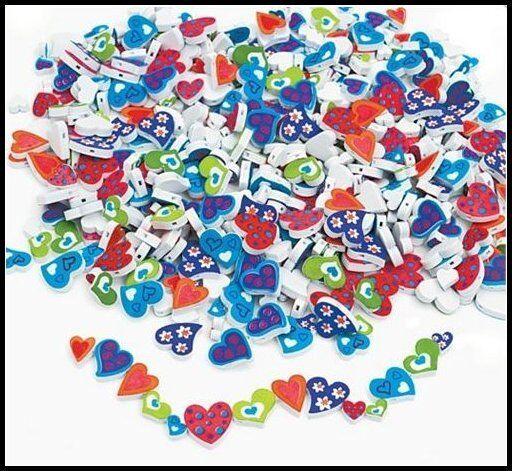 500 Foam Beads - Funky Heart Shapes Valentine ABCraft
