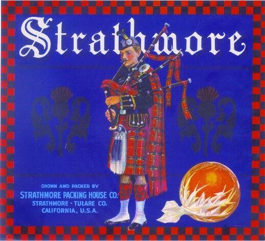 Strathmore Scottish Man Bagpipes #2 Orange Citrus Fruit Crate Label Print