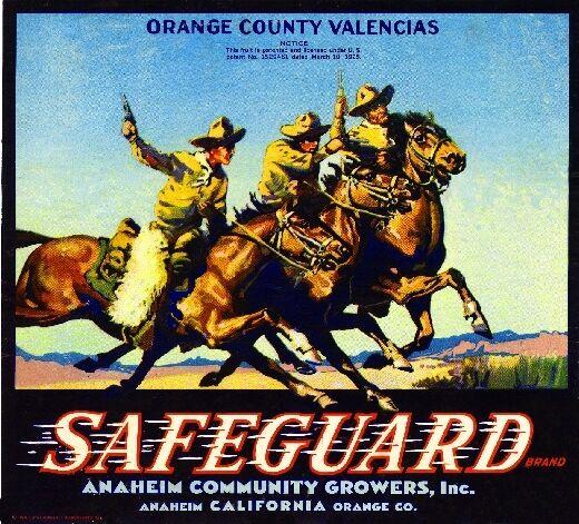 Anaheim Safeguard Cowboys Orange Citrus Fruit Crate Label Art Print
