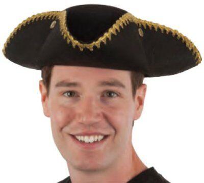 ADULT BLACK COLONIAL PIRATE TRICORNE TRI-CORNER TRICORN COSTUME HAT W/ GOLD TRIM