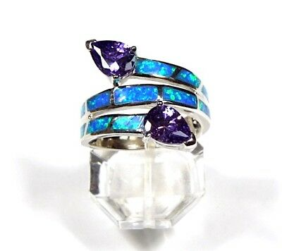 Amethyst & Blue Fire Opal Inlay Solid 925 Sterling Silver Ring sizes 6 - (Blue Opal Inlays Amethyst Ring)