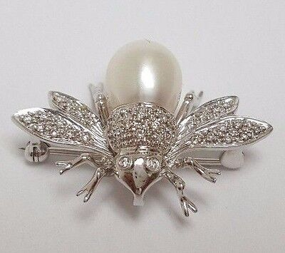Pearl and Diamond 14k White Gold Bee Fly Pin Brooch from Wallach Jewelry Designs