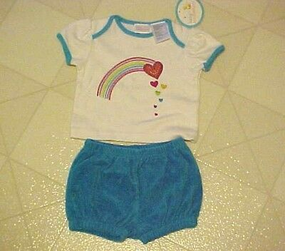 (BABY OUTFIT RAINBOW T-SHIRT BLUE SHORTS NEW SIZE 3-6 MONTH)