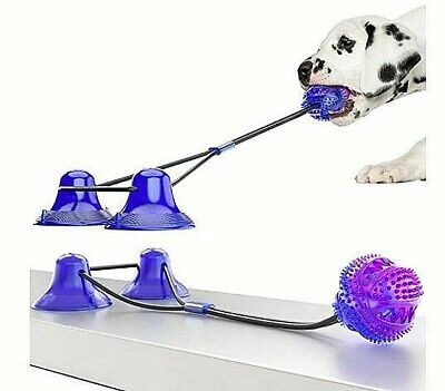 Dog Toys Chew Double Suction Cup Tug Puzzle Treat Food Teeth Cleaning Ball UK