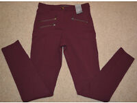 BNWT ATMOSPHERE womens trousers WINE colour size 6 / 34 fashionable buckles