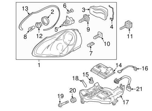 For Porsche Cayenne Xenon Headlight Wiring Harness Genuine