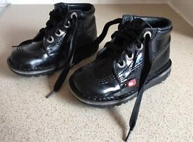 Black Patent Kickers boots with ribbon laces. Size 8 Infant (25). Excellent Condition